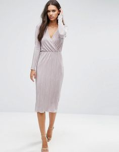 ASOS | ASOS Pencil Plissé Dress with Wrap Detail at ASOS Needs some sort of a belt..
