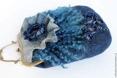 Купить Сумка войлочная. Тепло синевы - валяная сумка, валяная сумочка, сумка, сумки из войлока