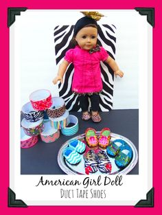 American Girl Doll Duct Tape Shoes Final Duct Tape Shoes for American Girl Dolls - How To Make Doll Shoes For 18 American Girl Outfits, American Girl Doll Shoes, American Girl Crafts, American Doll Clothes, Ag Doll Clothes, American Girls, Dress Clothes, Doll Dresses, Diy Clothes
