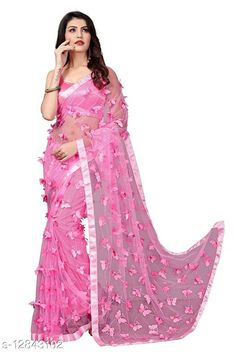 Sarees ButterFly Saree For Woman Saree Fabric: Net Blouse: Running Blouse Blouse Fabric: Art Silk Pattern: Self-Design Blouse Pattern: Solid Multipack: Single Sizes:  Free Size (Saree Length Size: 5.5 m, Blouse Length Size: 0.8 m)  Country of Origin: India Sizes Available: Free Size   Catalog Rating: ★4 (490)  Catalog Name: Adrika Alluring Sarees CatalogID_2493885 C74-SC1004 Code: 884-12843102-8121
