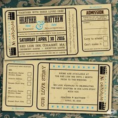 vintage movie ticket wedding invite http://www.wedfest.co/cinema-and-movie-themed-wedding-stationery/