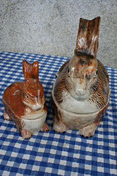 Two French Vintage Porcelain Rabbit Tureens by FromParisToProvence, €50.00