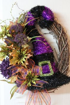 Halloween Front Door Wreath  Unique Witch Hat by FloralsFromHome, $130.00