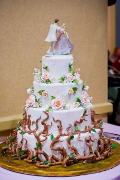 Sleeping Beauty themed wedding Cake made by the...