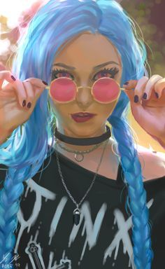 Fanart of Roxace Cosplay as a casual jinx!! saw her work featured on the league fb page and browsed around. I saw this pic: www.facebook.com/Roxacecosplay… and loved the colors so i use...