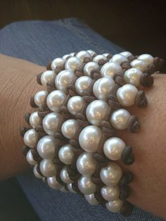 Bold Five Row Freshwater Pearl and Leather by ChristianOPearls