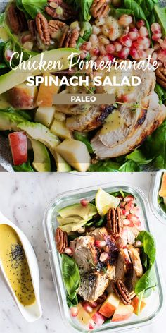 This healthy Chicken Spinach Salad with Avocado, Pomegranate and Pecans is packed with fall flavors and healthy fats. The perfect satiating paleo salad to meal prep or serve for dinner. | #Sunkissedkitchen #ChickenSalad #GlutenFreeSalad #SaladRecipes #Pomegranate #Avocado #Spinach #GlutenFreeLiving #CleanEatingRecipes