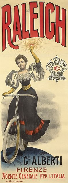 Artist: ANONYMOUS Size: 27 1/4 x 74 1/8 in./69.4 x 188.3 cm Lit. Wild, Milano Founded in 1887 and still in production today, Raleigh is one of the oldest bicycle companies in the world. Here, a determined female rider acts as a global ambassador for the firm's Florence-based distributor. A rare, three-sheet design.