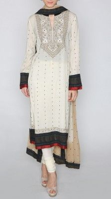 A full sleeves offwhite classic suit in viscose cotton georgette with a churidar and a tye dye dupatta