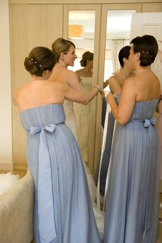 8 Best Bespoke Wedgewood Blue Silk Bridesmaid Dresses