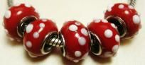 5 Red With White Dots Glass Rondelle European Beads For Bracelet or Jewelry $4.25 free shipping in USA