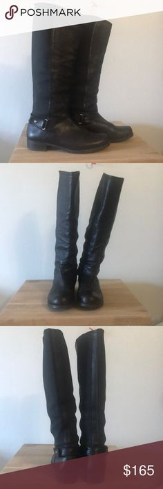 Stuart Weitzman leather w/neoprene moto boots Stuart Weitzman Black, leather w/neoprene stretch at back of calf, heel belt/harness, moto boots. Up to the bottom of knee (or lower depending on your height;) EUC! Only a bit of bunching from the neoprene stretch and a tad bit of wear to heel (see pics) gorgeous supple leather and very well made! Last you forever! Stuart Weitzman Shoes Combat & Moto Boots