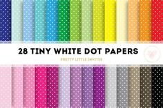 White Tiny Dot Digital Papers By Pretty Little Invites