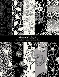 Modern Digital Scrapbook Paper Pack French Black White Gray Flowers Swirls 10 Digital Background Papers 8.5 x 11 Sheets Scrapbooking 1055gg. $3.00, via Etsy.