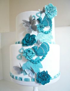 Teal, white and silver Cake by sarahf Beautiful Wedding Cakes, Gorgeous Cakes, Pretty Cakes, Amazing Cakes, Fondant Cakes, Cupcake Cakes, Peacock Cake, Round Wedding Cakes, Wedding Cupcakes