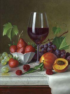 Fruit and glass of wine . - Saadet Sari - - Fruit and glass of wine . Wine Painting, Fruit Painting, Wine Photography, Still Life Photography, Still Life Fruit, Still Life Drawing, Sweet Wine, Still Life Photos, Wine Art