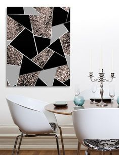 Rose Gold Geometric Glitter Glam 1 Geo Decor Art Canvas Print By Anita S Bella S Art Numbered Edition From 59 - Schlafzimmer Diy Canvas Art, Diy Wall Art, Diy Wall Decor, Canvas Art Prints, Canvas Wall Art, Art Decor, Canvas Decor Diy, Crayon Canvas Art, Canvas Ideas