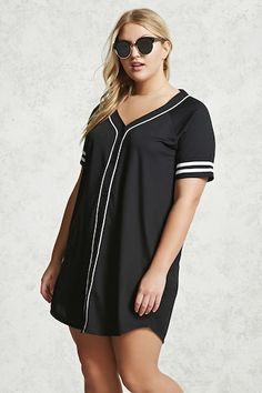 Forever 21+ - A baseball jersey-inspired knit T-shirt dress featuring a V-neckline with a contrast piping, a front button closure, short sleeves with dual varsity stripes, and a curved hem.