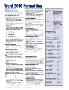 Word 2010 Formatting Quick Reference Guide (Cheat Sheet of Instructions, Tips Shortcuts - Laminated Card) Microsoft Word 2010, Microsoft Powerpoint, Microsoft Excel, Microsoft Windows, Microsoft Office, Powerpoint 2010, Computer Help, Computer Technology, Computer Programming