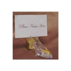 Gold Cinderella Slipper Placecard Holders - 12pcs