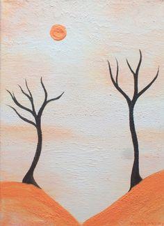 9 X 12 Modern Canvas Painting Orange White Brown Freedom Landscape Retro Woodland Zen Art Home Decor.  via Etsy.
