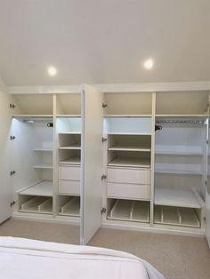 space saving loft wardrobe pull out rail Attic Bedroom Closets, Attic Bedroom Designs, Attic Closet, Upstairs Bedroom, Bedroom Wardrobe, Attic Rooms, Attic Spaces, Closet Designs, Closet Bedroom