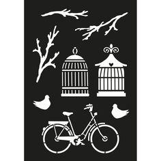 Schablon cykel & fågelburar