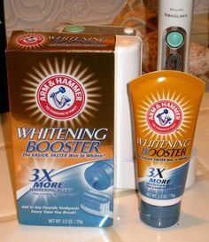 One pinner said: I will no longer waste money on Crest Whitestrips! Arm Hammer Whitening Booster is meant to be used when brushing your teeth. I use a q-tip and coat my teeth with it and leave it for (Baking Face White Teeth)