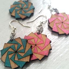TWILIGHT ZONE laser-cut wood earrings Green Tree Jewelry 153 BLOSSOMS Choose #GreenTreeJewelry #DropDangle