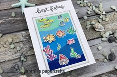 Lawn Fawn, Cardmaking, Birthday Cards, Greeting Cards, Paper Crafts, Fish, Art, Bday Cards, Making Cards