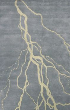 Lightning Patterned Gray and Yellow Floor Rug