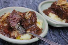 Sherry Braised Pork Cheeks with Roasted Garlic Mashed Potatoes