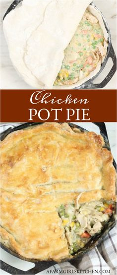 Homemade Chicken Pot Pie is a double flaky pie crust filled with shredded chicken, chopped onions, carrots, peas, in a creamy sauce. #chickenpotpie #potpie #chicken #comfortfood #dinner #Sundaysupper #chicken #homemade #piecrust