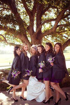 Bridesmaids in the groomsmen's jackets- so cute!