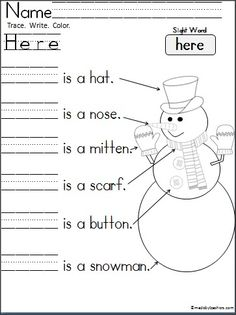 Free Kindergarten snowman writing page for practice reading and writing the sight word (Here).  Perfect for Kindergarten and 1st during the winter months.