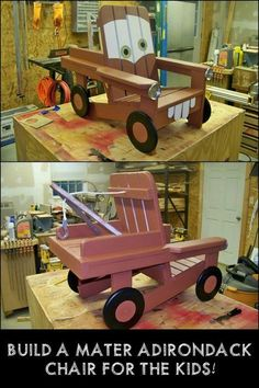 Build a DIY adirondack chair for the kids with a Tow Mater design! It's an amazing piece of furniture they will surely love! #woodworkingforkids