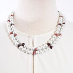 White Double Strands Glass Pearls With Red Crystal Ascent Necklace