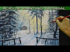 Acrylic Landscape Painting Tutorial Barn in the Snow Forest by JM Lisondra - YouTube