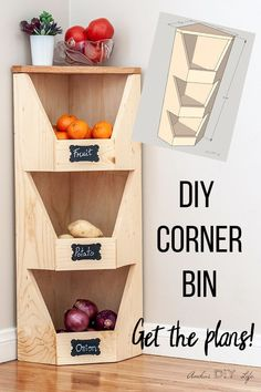 DIY Corner Vegetable Storage Bin Plans This is perfect for my sma. DIY Corner Vegetable Storage Bin Plans This is perfect for my small kitchen! How to build a DIY corner veg. Diy Vegetable Storage, Vegetable Bin, Fruit Storage, Vegetable Drawer, Plastic Bag Storage, Produce Storage, Diys, Diy Simple, Corner Storage
