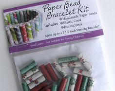 DIY Paper Bead Bracelet Kit - Christmas colors. Makes a great stocking stuffer. Handmade in the USA by #PurpleDotBoutique - Available on Etsy.