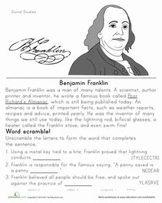 Second Grade Social Studies Worksheets: Historical Heroes: Benjamin Franklin Reading Passages, Reading Comprehension, Essay Writing, Writing A Book, Social Studies Worksheets, Map Skills, American Symbols, American History, Famous Books