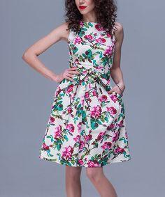 Look what I found on #zulily! Beige & Pink Floral Pocket Waist-Tie Fit & Flare Dress #zulilyfinds