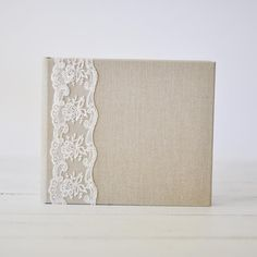 Linen and Lace guest book - perfect for an elegant yet rustic country wedding! handmade by blueskypapers.com