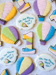 Oh The places you'll go first birthday cookies by thesweetesttiers