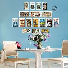 $13.99  - Amaonm Removable Creative Retro Colorful Stamp Wall art Decor Decal DIY Home art Stickers Wall Treatments for Bedroom Living room Study Room Corridor Offices Wall Background Decorations B -- Click image to review more details. (This is an affiliate link)