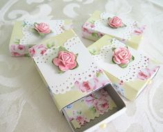 Paper-covered match boxes. Sweet packaging idea for party favors.