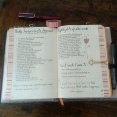 My daily improvement journal from last week #bulletjournal #bujo #planner