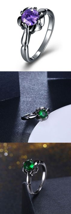 0 Rings Inalis Flower Shiny Zircon Women 8217 S Finger Ring Whole For
