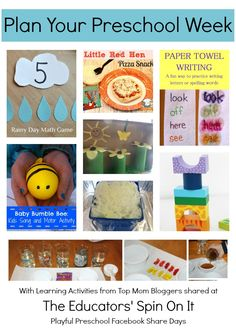Plan Your Preschool Week: Preschool Lesson Plan from Top Mom Bloggers! Math, Reading, Science, Movement and MORE!!!