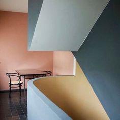 Le Corbusier's colours in action in the Weissenhof Museum Le Corbusier Haus in Stuttgart via @houseofgreylondon .